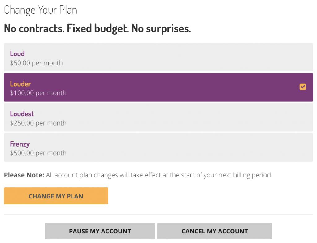 Buzz Frenzy Dashboard Change Your Plan