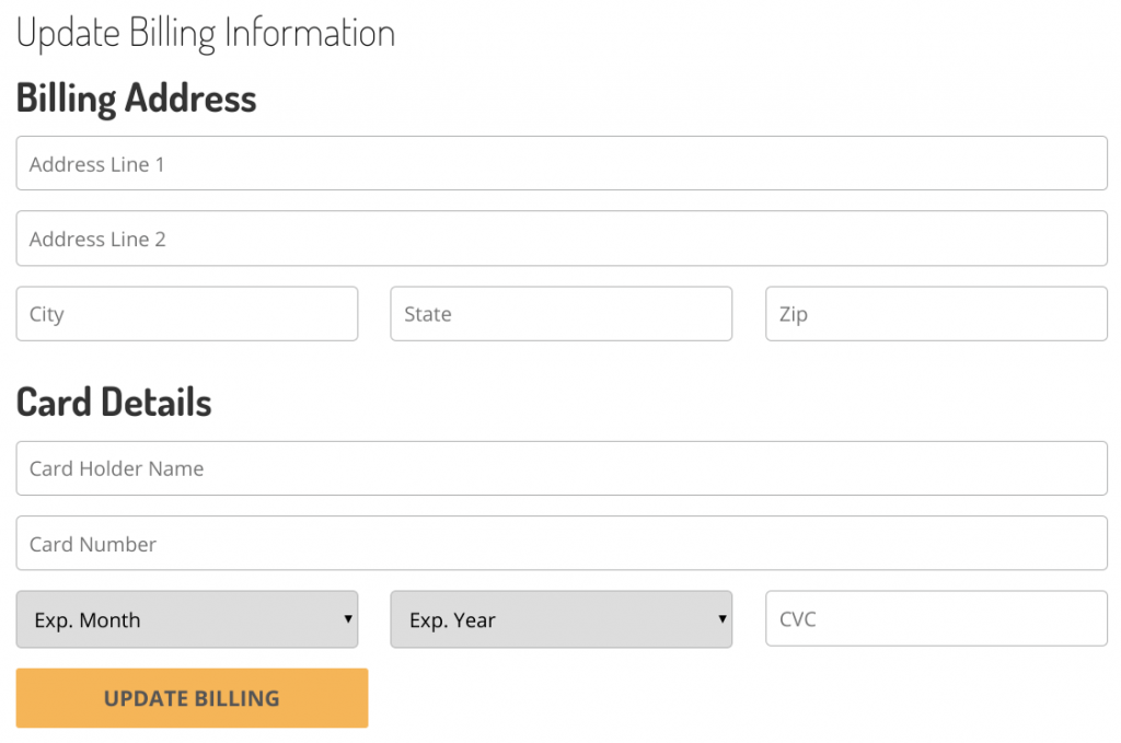 Buzz Frenzy Dashboard Update Billing Information